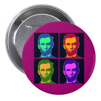 Arte pop cuatro Abraham Lincolns Pin Redondo De 3 Pulgadas