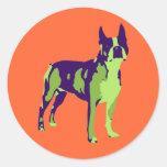 Arte pop de Boston Terrier Pegatina Redonda