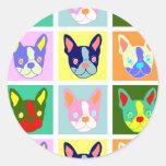 Arte pop de Boston Terrier Pegatinas Redondas