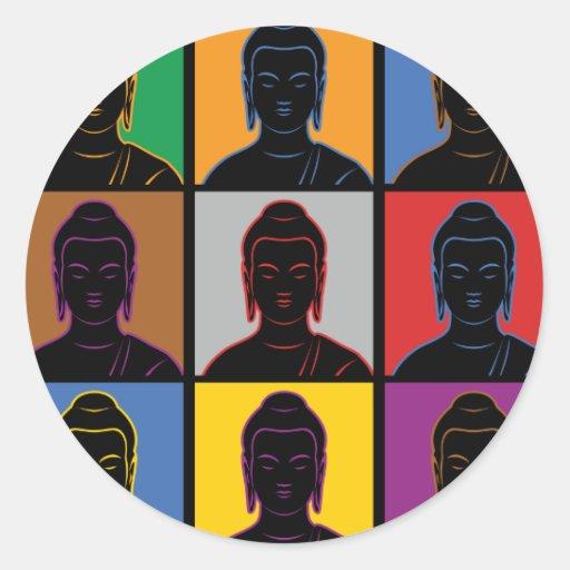 Arte pop de Buda Pegatina Redonda