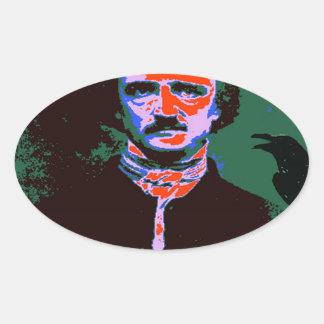 Arte pop de Edgar Allan Poe 1 Pegatina Ovalada