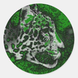 Arte pop de Jaguar Pegatina Redonda