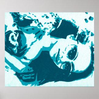 Arte pop de la aguamarina del jade póster
