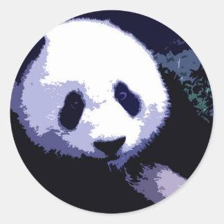 Arte pop de la cara de la panda etiquetas redondas