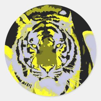 Arte pop de la cara del tigre pegatina