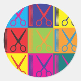 Arte pop de la cosmetología pegatina redonda