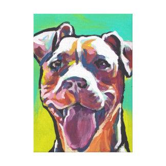 arte pop de la diversión del pitbull del pitbull impresión en lona estirada