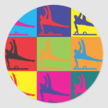 Arte pop de la gimnasia etiquetas redondas