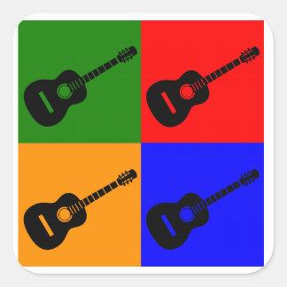 Arte pop de la guitarra acústica calcomania cuadradas personalizadas