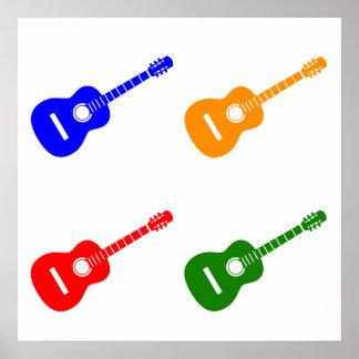 Arte pop de la guitarra acústica póster