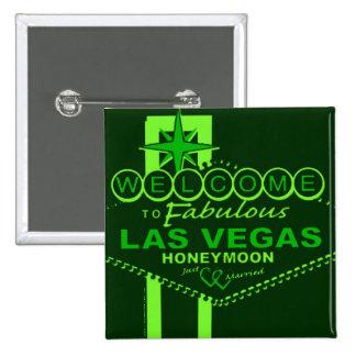 Arte pop de la luna de miel de Las Vegas Pin Cuadrado
