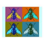 Arte pop de la mosca tarjeta postal