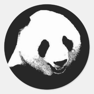 Arte pop de la panda etiqueta redonda