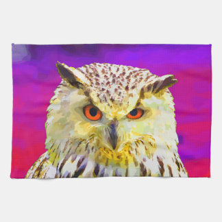 Arte pop de la pintura del retrato del búho de toalla de mano