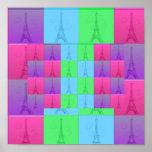 Arte pop de la torre Eiffel, arte pop de la torre  Posters
