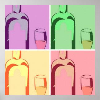 Arte pop de las botellas de vino póster