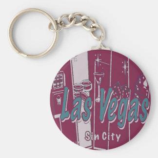 Arte pop de Las Vegas Llavero Redondo Tipo Pin