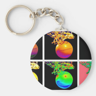 Arte pop de los aros de baloncesto del B-Ball Llavero Redondo Tipo Pin