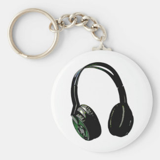 Arte pop de los auriculares llavero redondo tipo pin