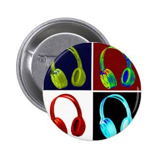 Arte pop de los auriculares pin redondo de 2 pulgadas