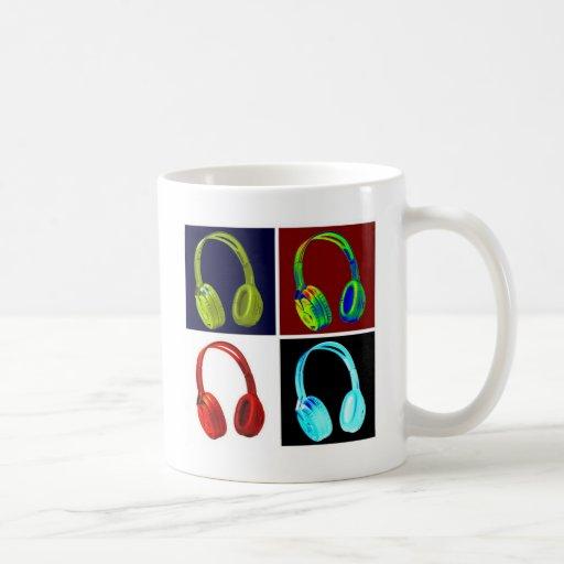Arte pop de los auriculares taza de café
