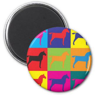 Arte pop de los caballos imán redondo 5 cm