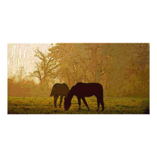 Arte pop de los caballos tarjeta fotografica personalizada