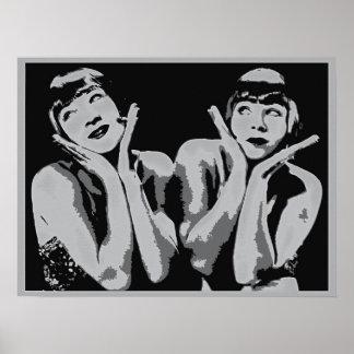 arte pop de los chicas de la aleta de los años 20 posters