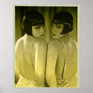 arte pop de los chicas de la aleta de los años 20  póster