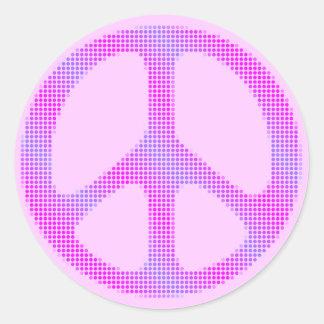 Arte pop de los lunares del signo de la paz pegatina redonda