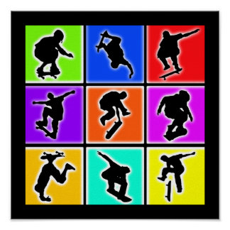 Arte pop de los skateres póster