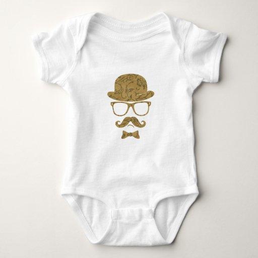 Arte pop de los vidrios del bigote de derby del body para bebé