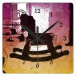 Arte pop de madera del juguete del caballo mecedor relojes