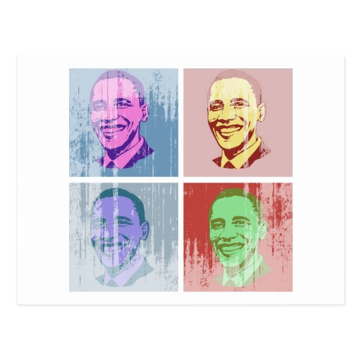 Arte pop de Obama Vintage.png Postal