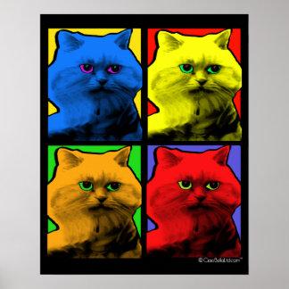 Arte pop de pelo largo del gato por la petición póster