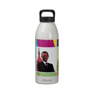 Arte pop de presidente Obama Botella De Agua