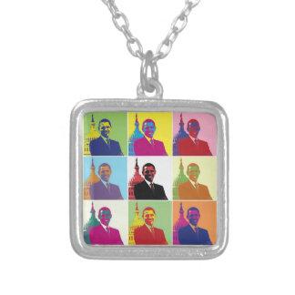 Arte pop de presidente Obama Collar Plateado