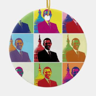 Arte pop de presidente Obama Ornamento Para Arbol De Navidad