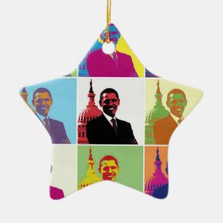 Arte pop de presidente Obama Ornamentos De Navidad
