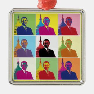 Arte pop de presidente Obama Adornos De Navidad