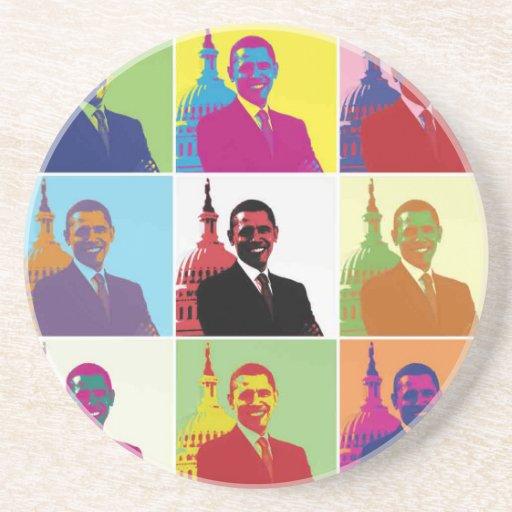 Arte pop de presidente Obama Posavasos Diseño