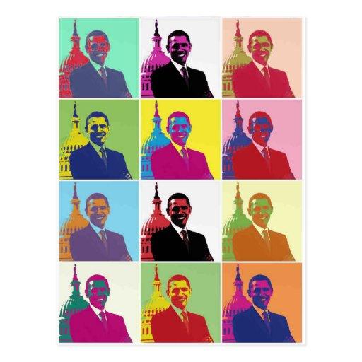 Arte pop de presidente Obama Tarjeta Postal