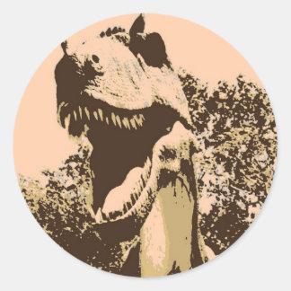 Arte pop de Rex del Tyrannosaurus Etiquetas Redondas