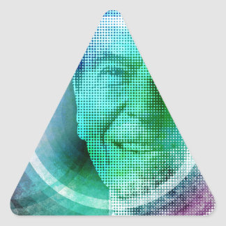 Arte pop de Ronald Reagan Pegatina Trianguloada