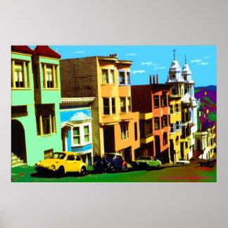 Arte pop de San Francisco - opinión 69 de Nob Hill Póster