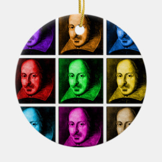 Arte pop de Shakespeare Adorno Navideño Redondo De Cerámica