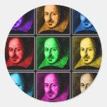 Arte pop de Shakespeare Pegatina Redonda