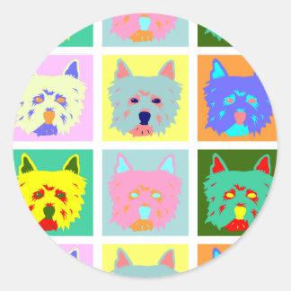 Arte pop de Terrier blanco de montaña del oeste Etiquetas