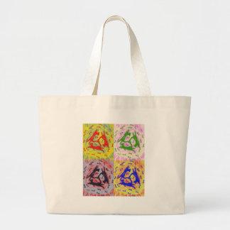 Arte pop de tres gatos multicolor bolsa tela grande