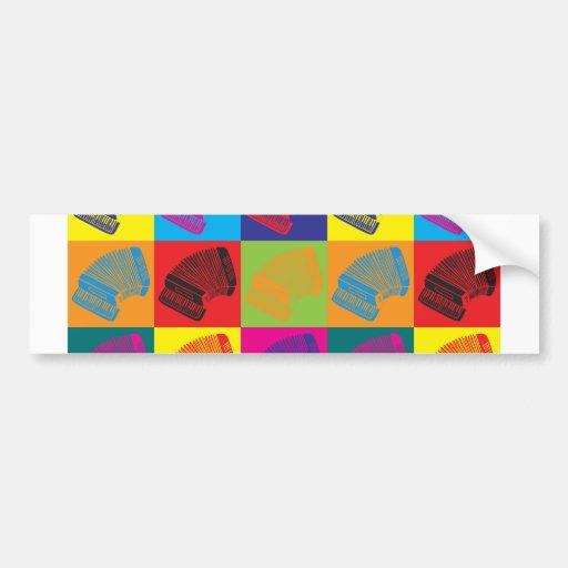 Arte pop del acordeón etiqueta de parachoque